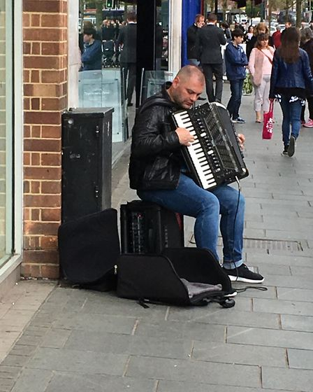 A busker in St Albans.