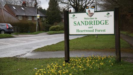 The Sandridge village sign on St Albans Road. Picture: DANNY LOO