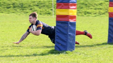 Tabard's Jack Reilly scores a try against London Nigerian.