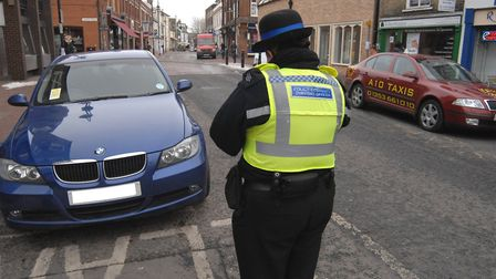 PCSO gives Parking Ticket, in Market Street, Ely