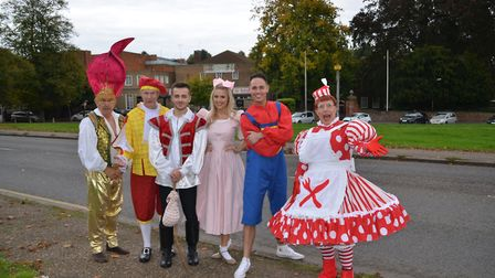 Ernie Almond (far left) with the cast of pantomime Dick Whittington in Harpenden