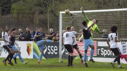 Goalmouth action as St Neots Town search for a goal at Kings Langley. Picture: CLAIRE HOWES