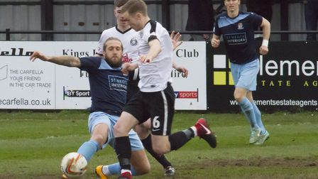 Skipper Luke Knight struck twice in St Neots Town's loss at Kings Langley. Picture: CLAIRE HOWES