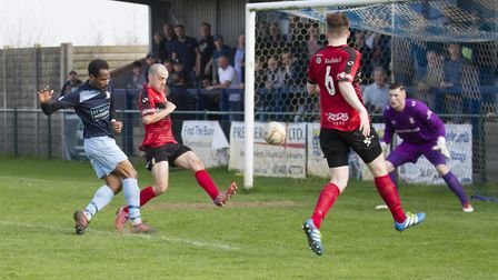 Nabil Shariff gets in an effort on goal during St Neots Town's victory against Redditch. Picture: CL