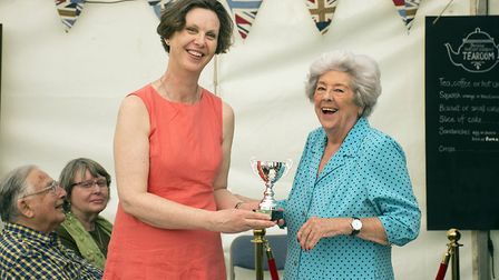 Former speaker of the House of Commons Baroness Boothroyd presenting a prize to Victoria Penty. Pic