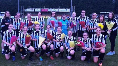 St Ives Town Ladies celebrate their Cambs Women's Premiership title triumph. Picture: GARY REED PHOT