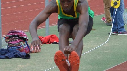 Ayo Opaleye during his record-breaking triple jump success.