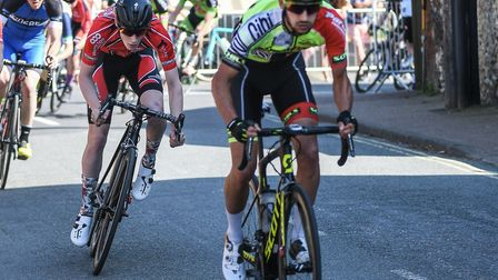 Sean Purser in second place in the Ixworth Criterium race. Picture: JACK PAYNE/NATURAL PHOTOGRAPHY