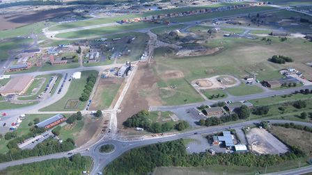 Aerial view of the Enterprise Campus and Alconbury Weald.