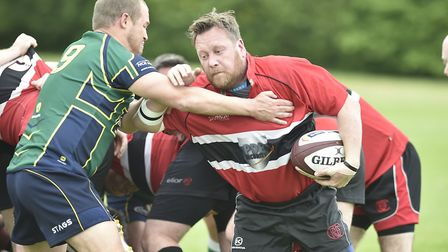 Action from Huntingdon Staggerers' final triumph against Oundle.