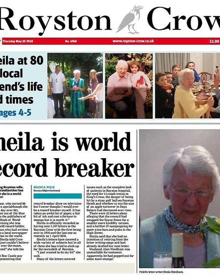 We created a mock Royston Crow front page honouring Sheila Needham's 80th birthday - and her prolifi