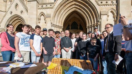 Archbishop of Canterbury Justin Welby with pupils due to take exams. (Picture: Arun Kataria)