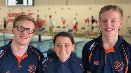 St Ives swimmers at the Nova Centurion Open Meet are, from the left, Tom Davis, Cathy Thomson and Ja