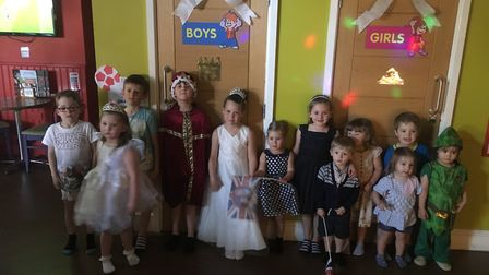 Royal wedding party in the Wacky Warehouse at the Mill House pub in Hartford