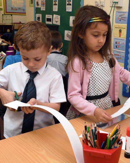 Pupils at Ramsey Spinning Infant School celebrate the royal wedding