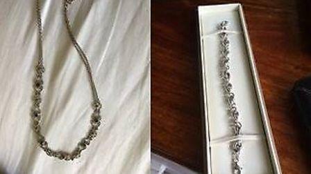 A necklace and bracelet stolen in the burglary on Linden Crescent. Picture: Herts Police.