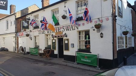 The White Swan Pub in Upper Dagnall Street decorated for the Royal Wedding. (Picture: John Mcguinnes