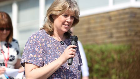 Redbourn Primary School chair of governors Melanie Wooding-Jones welcomes guests at the opening of t