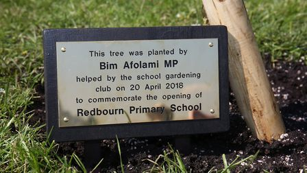 MP for Harpenden and Hitchin Bim Afolami and Redbourn Primary School pupils plant a tree at the open