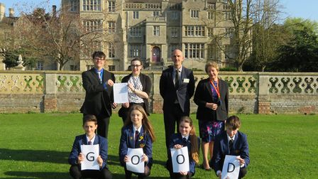 Teachers and pupils celebrate Abbey College, Ramsey's 'good' rating. Picture: CONTRIBUTED