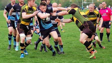 Aiden Jordan in the thick of the action during St Neots' success against Deepings. Picture: CAROL BE