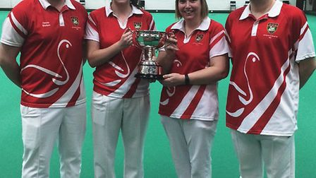 The winning St Neots mixed fours team are, from the left, Jamie Barker, Rachel Tremlett, Michelle Co