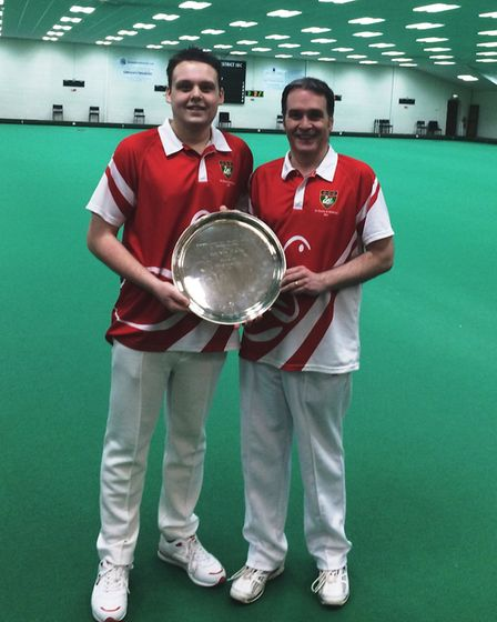The successful Men's Pairs duo of Robbie Barker (left) and Keith Masters.