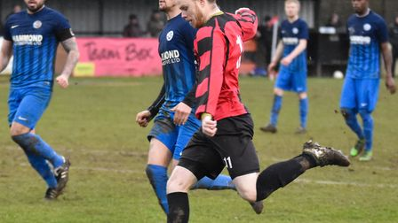 Corey Kingston struck twice and won a penalty as Huntingdon picked up a welcome win. Picture: J BIGG