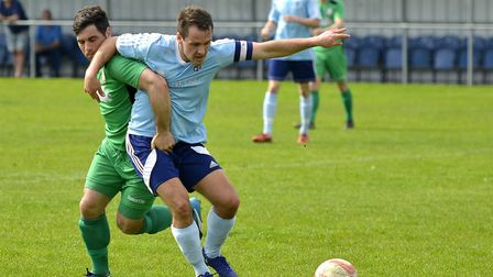 Captain Micky Hyem put Godmanchester Rovers ahead against Gorleston. Picture: DUNCAN LAMONT
