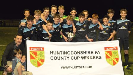 St Neots Town Uner 16s celebrate their Hunts Cup triumph. Picture: MARK RIDER