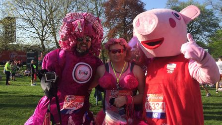 Craig McMurrough, centre, with pals raising money for Breast Cancer Now. Picture: courtesy of Craig