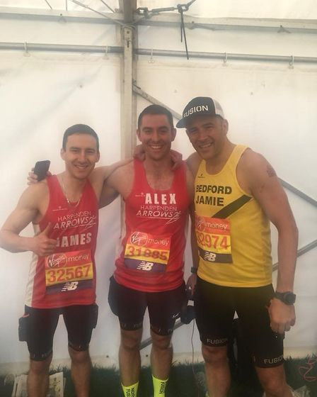 Harpenden Arrows' James Chasen (left) and Alex Smith (centre) before the start of the London Maratho