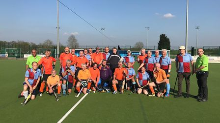 The St Albans Centurions and their Dutch visitors line-up after the game at Oaklands College.