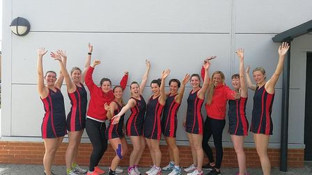 The victorious Harpenden Netball Club first team celebrate their league title.