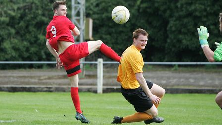 Stotfold FC V Harpenden Town - Goal attempt by Harpenden Town's James Ewington.Picture: Karyn Had
