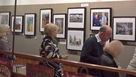 Mayor Vera Swallow, left, and visitors admiring some of the RPS exhibits. Picture: David Hatton
