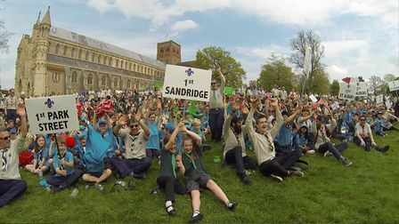 Scouts sat on the orchard outside St Albans Abbey. Picture: David Hartnup.