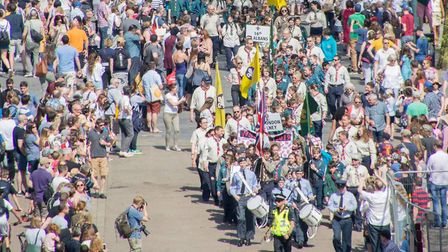 Scouts marching down St Peter's Street. Picture: Pete Adkins.
