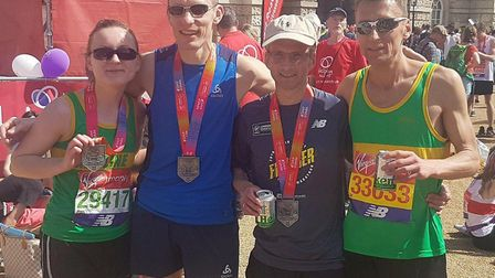 Hunts AC members who ran in the London Marathon are, from the left, Caroline Archer, Ty Farrer, Sean