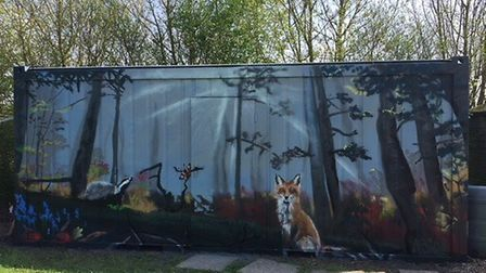The portacabin mural designed by Tim Shuker-Yates. Picture: Bumpkins
