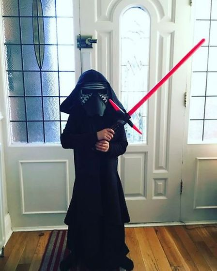 Making an entrance: Emma's daughter Isabelle channelling her inner Kylo Ren on her eigth birthday (@