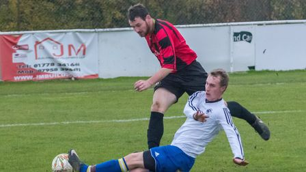 Richard Baines scored Huntingdon Town's first goal in their semi-final victory at Deeping. Picture: