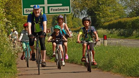 The A10 corridor cyclists out on the ride. Picture: Gerald Cranwell