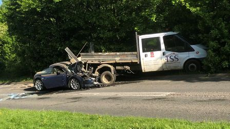 The van and car which collided on Sandringham Crescent. Picture: Arif Gardner.