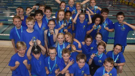 The successful St Albans District Primary Schools' swimming team.