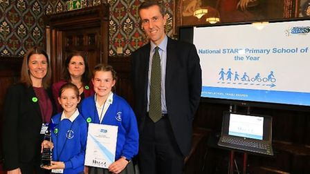 Karen Whinney, governor responsible for travel plan, headteacher Becky Smith and Andrew Selous MP, c