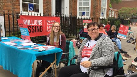 The St Albans ME Group stall near St Peter's Street.