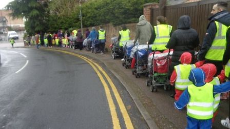 London Road and Ridgmont Road Monkey Puzzle nurseries taking part in a sponsored walk to raise money