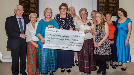 The ladies holding the cheque are, from the left: Pam Franklin (HDCS president), Pat Butcher (chairm