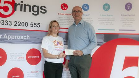 The golf day raised more than £3,000 for Home-Start Herts. Left to right: strategic operations manag